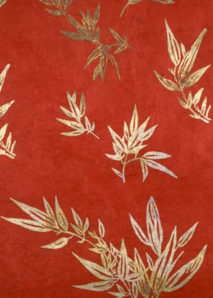 Bamboo leaf gold on ren paper